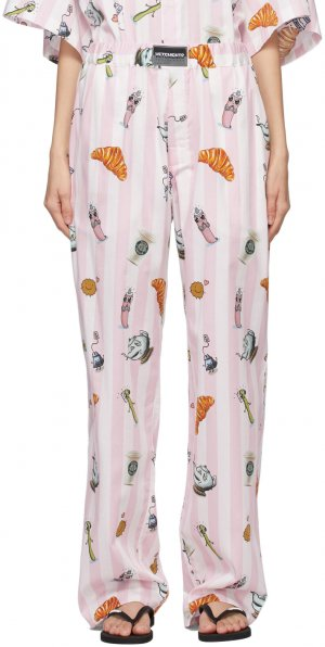 Pink & White Breakfast Trousers VETEMENTS. Цвет: baby pink s