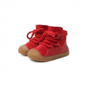 Замшевые ботинки INUIKII. Цвет: красный