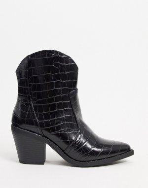 Черные ковбойские сапоги с эффектом крокодиловой кожи -Черный London Rebel
