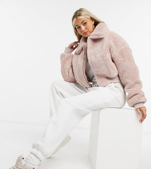 Розовая куртка-бомбер из искусственного меха COLLUSION-Розовый цвет Collusion