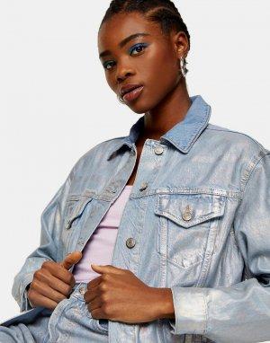 Серебристая выбеленная джинсовая куртка с покрытием эффектом металлик -Серебристый Topshop