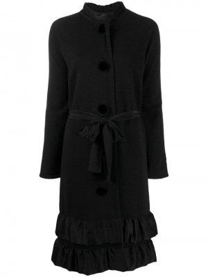 Пальто миди 2006-го года с оборками LANVIN Pre-Owned. Цвет: черный