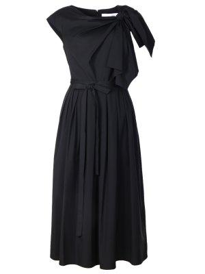 Хлопковое платье-миди с бантом CAROLINA HERRERA. Цвет: черный