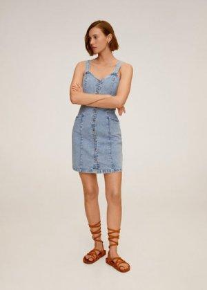 Джинсовое платье с пуговицами - Boho Mango. Цвет: синий средний