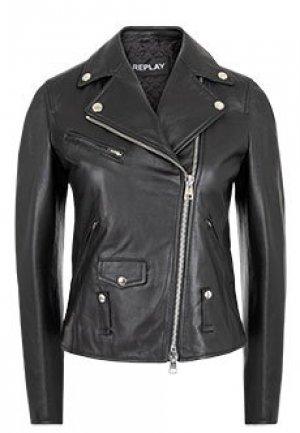 Кожаная куртка REPLAY. Цвет: черный