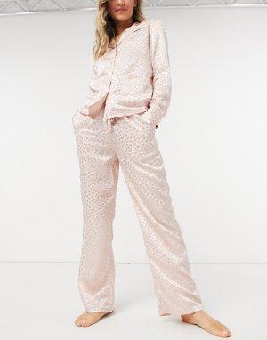Жаккардовые пижамные штаны румяно-розового цвета -Розовый цвет Liquorish