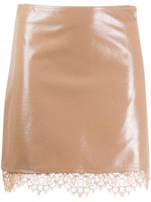 Многослойная кружевная юбка Pinko. Цвет: бежевый