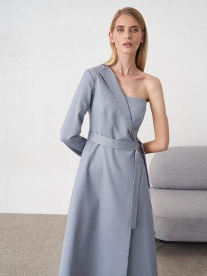 Платье длинное Lydia на одно плечо GATE31. Цвет: серо-голубой