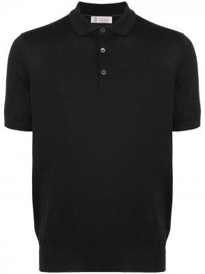 Knitted polo shirt Brunello Cucinelli. Цвет: черный