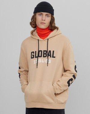 Светло-бежевое худи с принтом Global на груди и спине -Светло-бежевый Bershka