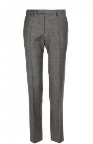 Классические брюки из фактурной шерсти BOSS. Цвет: серый