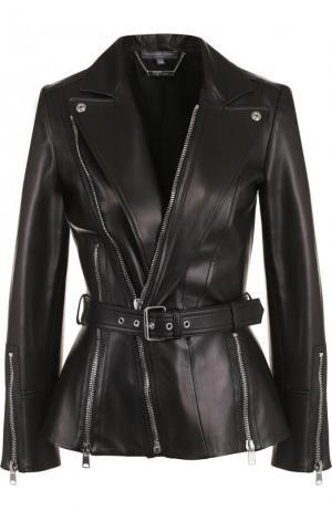 Кожаная куртка с косой молнией Alexander McQueen. Цвет: чёрный