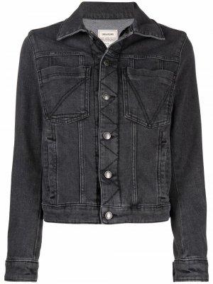 Джинсовая куртка Kiomy с принтом Voltaire Zadig&Voltaire. Цвет: серый