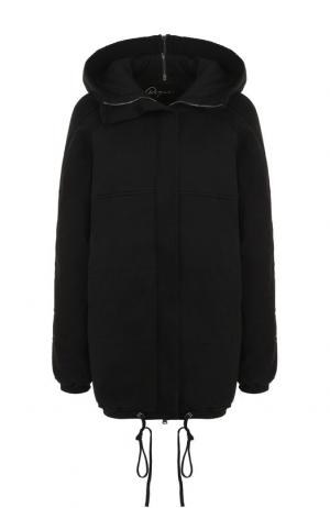 Хлопковая куртка на молнии с капюшоном Roque. Цвет: черный