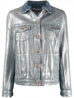 Джинсовая куртка с эффектом металлик Emporio Armani. Цвет: синий