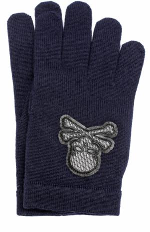 Шерстяные перчатки с отделкой Philipp Plein. Цвет: темно-синий