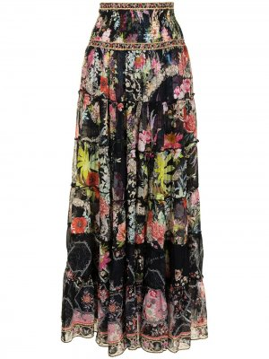 Юбка макси с цветочным принтом Camilla. Цвет: черный