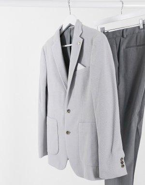 Светло-серый пиджак из пике узкого кроя Burton Menswear