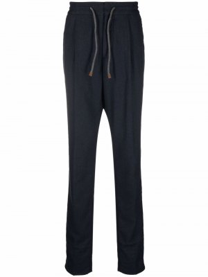 Drawstring waist cotton trousers Brunello Cucinelli. Цвет: синий