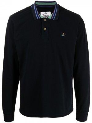 Рубашка поло с длинными рукавами и вышитым логотипом Vivienne Westwood. Цвет: синий