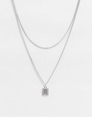 Серебристая цепочка толщиной 2 мм с подвеской -Серебряный ASOS DESIGN