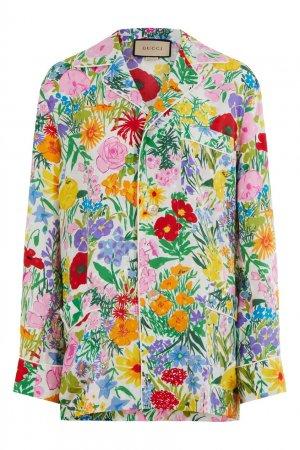 Шелковый комплект с цветочным принтом Gucci. Цвет: розовый