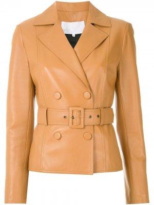 Двубортная куртка с поясом Nk. Цвет: коричневый