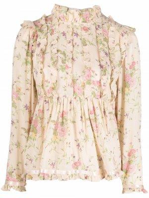 Блузка с оборками и цветочным принтом byTiMo. Цвет: нейтральные цвета
