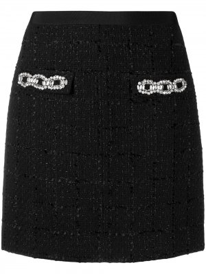 Твидовая мини-юбка с декором из кристаллов Blumarine. Цвет: черный