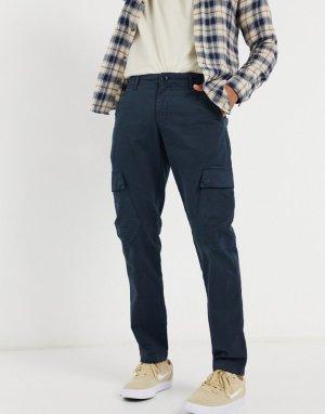 Темно-синие брюки карго из органического хлопка -Темно-синий Knowledge Cotton Apparel