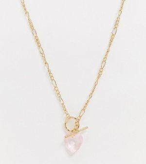 Золотистая цепочка с подвеской-сердцем из искусственного кристалла ASOS DESIGN Curve-Золотой Curve
