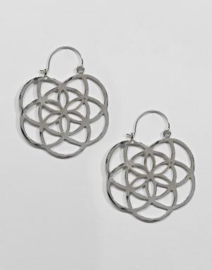 Серьги-кольца ASOS DESIGN. Цвет: серебряный