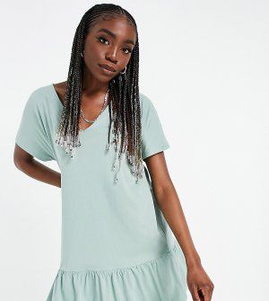 Платье шалфейно-зеленого цвета с короткими рукавами, оборкой внизу и V-образным вырезом ASOS DESIGN Tall-Зеленый цвет Tall