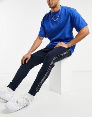Темно-синие джоггеры с логотипом на ленте -Серый Champion
