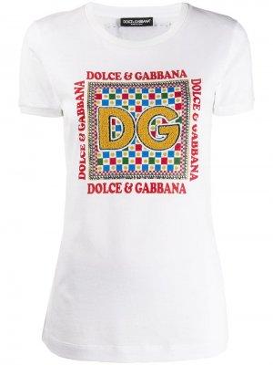 Футболка с нашивкой DG Dolce & Gabbana. Цвет: белый