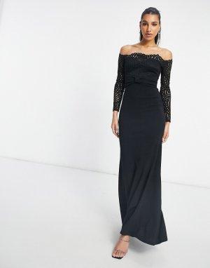 Черное кружевное платье макси с вырезом лодочкой и юбкой годе -Черный Goddiva