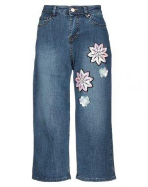 Джинсовые брюки-капри LANACAPRINA. Цвет: синий