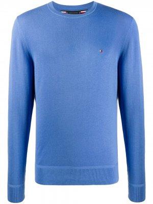 Пуловер с вышитым логотипом Tommy Hilfiger. Цвет: синий