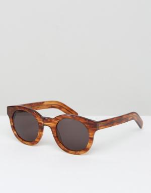 Круглые солнцезащитные очки Shiro Monokel Eyewear. Цвет: коричневый