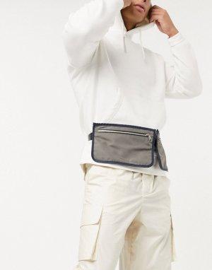 Серая сумка-кошелек на пояс с синей окантовкой и серебристой молнией -Черный цвет ASOS DESIGN