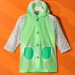 Детский дождевик в горошек SHEIN. Цвет: зелёный