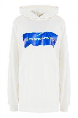 Белое худи с логотипом Alexander Wang.t. Цвет: белый