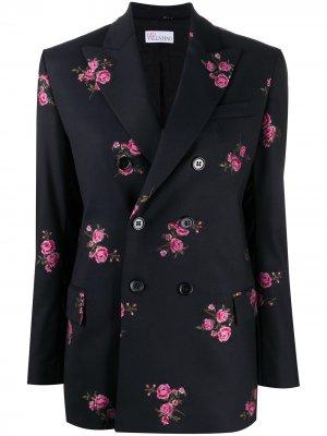 Пиджак с цветочной вышивкой RED Valentino. Цвет: черный