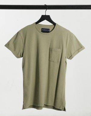 Плотная футболка серо-зеленого цвета -Зеленый цвет Abercrombie & Fitch