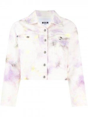 Джинсовая куртка с узором MSGM. Цвет: белый