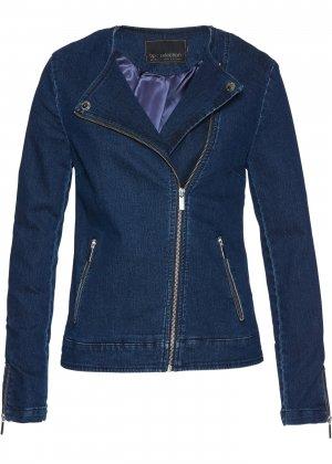 Куртка в байкерском стиле bonprix. Цвет: синий