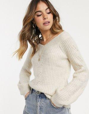 Джемпер фактурной вязки с открытыми плечами -Кремовый Abercrombie & Fitch