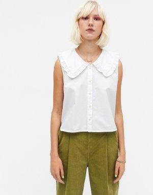 Белая блузка с воротником из хлопкового органического поплина Mona-Белый Monki