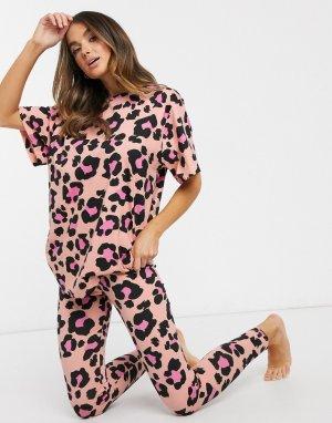 Пижама с футболкой и леггинсами персикового цвета со звериным принтом -Мульти ASOS DESIGN