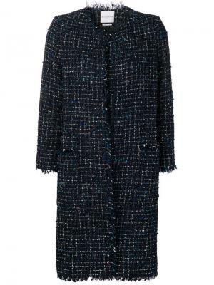 Твидовое пальто букле длины миди Ballantyne. Цвет: синий